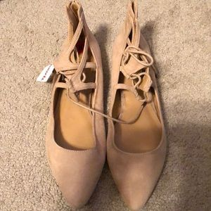 Nude Nine West tie up ballet slippers